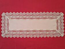 "VINTAGE FLORAL ROSES CROCHET LACE FRAME WHITE BEIGE TABLE RUNNER SIZE:16""x 38"""