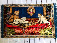 Vintage Velvet Tapestry Rug/Wall Decor 3 Cats Kittens Playing Chess Fringe 63X38