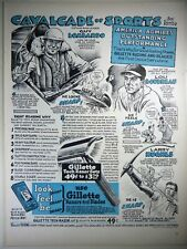 Vintage 1947 GILLETTE TECH RAZOR, BLADES Lg Magazine Ad: BASEBALL'S LOU BOUDREAU