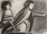"ROBERT DICKERSON ""Rush Hour"" Original Charcoal, Signed, 27cm x 37cm, Framed"