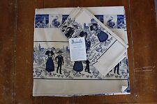 Beauville France Linens Tablecloth & Napkins (5) L' Alsace En Camaieu Blue Cream