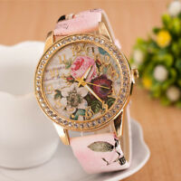 Fashion Rose Flower Women Girl Crystal Fuax Leather Bracelet Quartz Wrist Watch