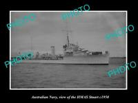 OLD LARGE HISTORIC PHOTO OF AUSTRALIAN NAVY SHIP HMAS STUART c1950