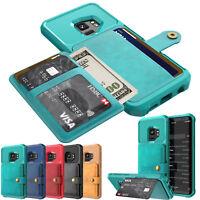 Für Samsung S9+Note 9 iPhone Magnetische PU Leder Kartenhalter Brieftasche Hülle