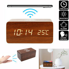 Wooden Wood Digital LED Desk Alarm Clock Thermometer Qi Wireless Charger US
