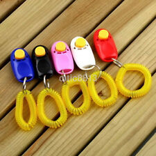 Animal Dog Cat Bird Horse Pet Training Clicker Obedience Aid + Wrist Strap au^h