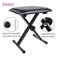 Portable Piano Stool Adjustable Folding 3 Way Keyboard PU Leather Bench Seat