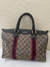 Vtg Gucci GG Web Navy Blue Cotton Canvas Leather Trim Satchel Boston Handbag