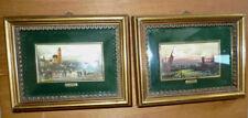Pair Miniature Lucio Cargnel Paintings Framed Under Glass Gold Gilt Frames