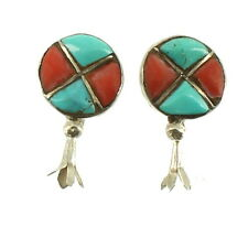 STERLING NAVAJO VINTAGE CORAL & TURQUOISE INLAID EARRINGS SCREW BACK 1930-40's
