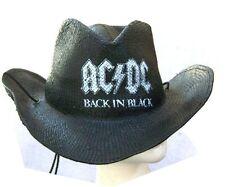"AC/DC BACK IN BLACK ""STRAW""  COWBOY HAT OS NEW NWT LICENSED"