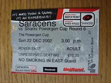 22/12/2002 Ticket: Rugby Union - At Watford - Saracens v Sale [Powergen Cup]