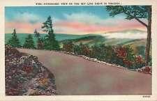 Beautiful Sunrise / Sunset, Sky-Line Drive, Virginia Old Vintage Linen Postcard