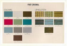 FIAT CROMA COLORI E FINITURE 1986-87 UK mercato OPUSCOLO Brochure CHT SUPER TURBO