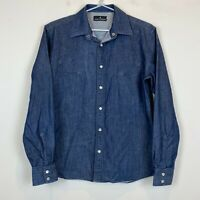 Jack London Mens Blue Denim Long Sleeve Pearl Snap Button Shirt Size S