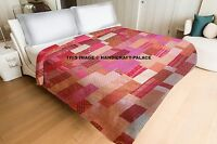 Silk Sari Patchwork Kantha Quilt Indian Reversible Bedspread Queen Bedding Throw