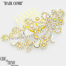 HIGH END AURORA BOREALIS IN GOLD CRYSTAL HAIR COMB FORMAL JEWELRY ACCESSORIES