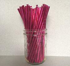 Foil Hot Pink Paper Straws, Foil Pink Drinking Straws, Foil Pink Cake Pop Sticks