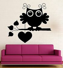 Wall Stickers Vinyl Decal Cute Owl Bird Love Romantic Heart Cool Decor (ig312)