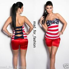 SEXY BANDEAU TOP IN AMERICAN FLAG PRINT WITH BACK CUT OUTS. UK 8/10 EU 36/38