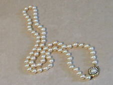 "1960's True Vintage Gorgeous 26"" Faux Pearl Necklace-Gold Tone & Diamante Clasp"