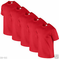 6 Mens Fruit of the Loom Plain Red Tshirt T Shirt Blank All Sizes 100% Cotton