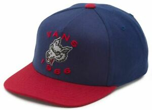 Vans Off The Wall Kids Boys Leaping Lizard Snapback Hat Cap - Blue/Red