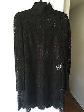 Sexy  Dolce & Gabbana Black Lace Cordonetto Mini Dress IT:46 ORG$3,475.00
