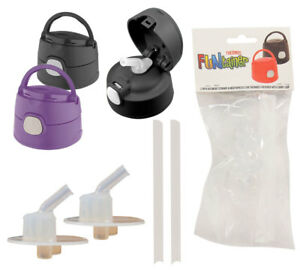 THERMOS Funtainer 2 Replacement Straws & Mouthpieces Set for Lids w/ Carry Loop