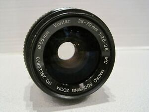 VIVITAR 35-70MM 1:2.8 - 3.8 CAMERA LENS #28520873 55MM  MOUNT MC ZOOM