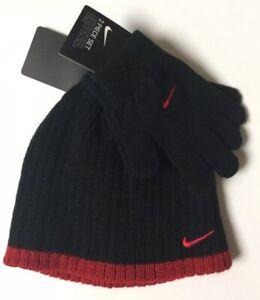 NEW Nike Boys 2 Piece Set Youth Beanie Knit Hat & Gloves Black w Red Trim
