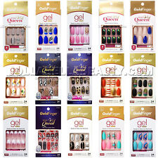 Kiss GoldFinger Queen Gel Press On Nail Polish Matte Design Dots Pink Kit *1PC