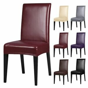 Premium PU Leather Chair Covers Stretch Dining Room Seat Slipcovers Waterproof