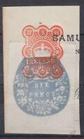 1899 Ireland Embossed / Impressed Duty 6d blue + orange; Six Pence; Revenue; D