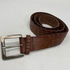 Stitched Brown Leather Belt Metal Rivets Women's Sz L