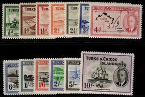 TURKS & CAICOS ISLANDS GVI SG221-233, complete set, NH MINT. Cat £85.