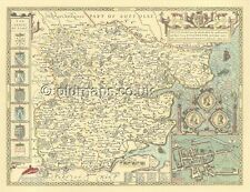 Essex Colchester John Speed Replica Mapa Antiguo De Tamaño Completo copia c1610 Regalo Único