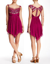 NWT $350 Free People Embellished Asymmetrical Cutout Back Ruffled Mini Dress 10