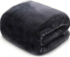 New listing Queen Size Soft Plush Fleece Blanket Throws for Bed Couch Sofa Chair Dark Grey