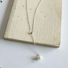 Brand New 925 Sterling Silver Long Chain Necklace with Pearl Adjustable length