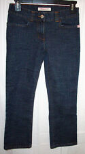 MISS SIXTY Straight Leg Cross-Hatch Dark Wash Cropped Capri Jeans 27 27W x 32L