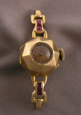 Old Art Deco French 18K Gold Faceted Case Ladies Wristwatch UTI 15J Swiss mvt.