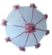"""36"""" White Lace Bridal Shower UMBRELLA PARASOL with  Mauve Dusty  roses & ribbons"""