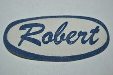 Vintage Blue ROBERT Name Tag Unused Gas Oil Mechanic Iron On Shirt Patch Rare