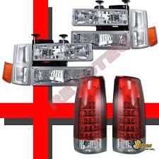 94-98 Chevy C10 CK Silverado Tahoe Suburban Headlights Set & LED Tail Lights