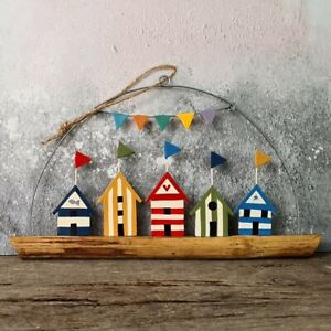 Colourful beach huts seaside hanging decoration, summer beach decor for walls