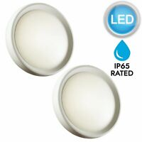 Set of 2 White LED Outdoor IP65 Rated Bulkhead Waterproof Garden Wall Lights