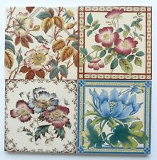 """4 Screen printed 6""""sq reproduction tiles by Stovax, c1987"""