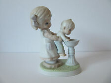 Vintage Homco #1406 Girl Holding Small Boy Up To Drinking Fountain