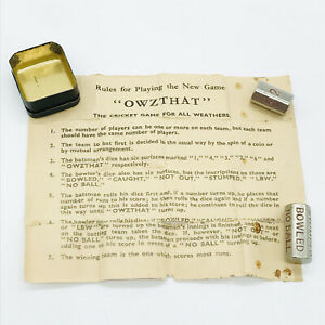 VINTAGE OWZTHAT CRICKET GAME WITH ORIGINAL INSTRUCTIONS PIECES & TIN